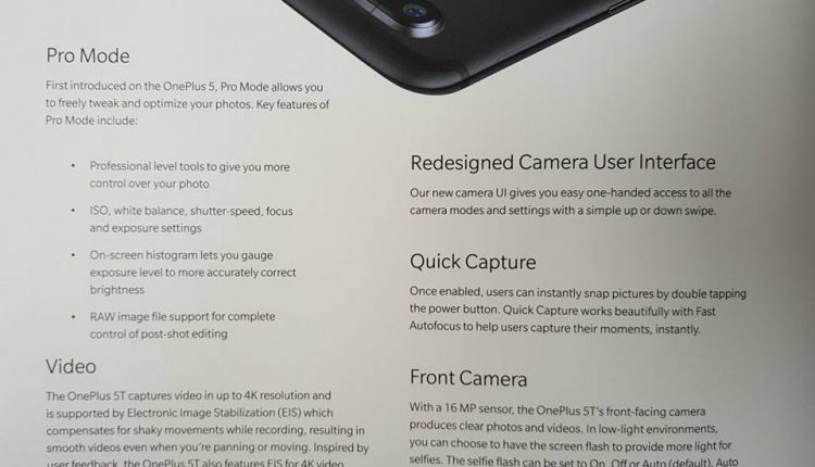 OnePlus 5T Photographs And User Manual Leaked Ahead Of The Official Launch 3